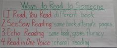 Ways to Read to Someone Grade 2, First Grade, Read To Someone, Reading School, Daily Five, Writing Workshop, School Stuff, Classroom Ideas, Literacy