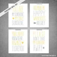 You Are My Sunshine 4pc DIY Printable Digital Wall Art 5x7 8x10 11x14 ~ Custom color option available!