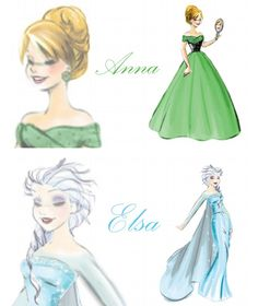 Elsa & Anna dress designs. Frozen.