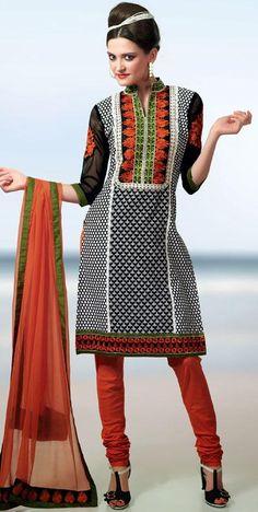 $57.05 Black Cotton Embroidery Churidar Salwar Kameez 25570