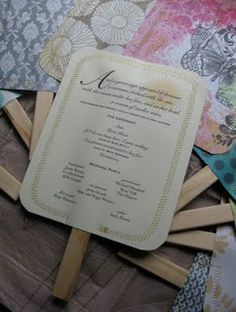 goodness (recycled and otherwise): Wedding Program Fans - tutorial