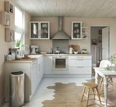 Open kitchen: 15 kitchen models – Côté Maison - Home & DIY Open Kitchen, Kitchen Dining, Kitchen Cabinets, Timber Kitchen, Dining Room, Kitchen Country, Kitchen White, Kitchen Sink, Home Decor Kitchen