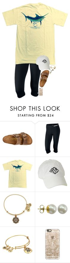 """""""I love the beach!"""" by simply-makayla ❤ liked on Polyvore featuring Birkenstock, NIKE, Guy Harvey, Alex and Ani, Majorica and Casetify"""