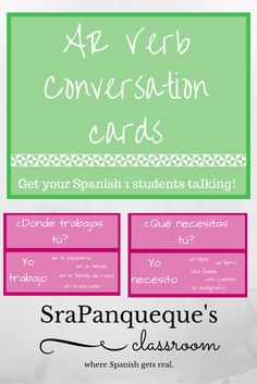 Get your Spanish 1 students talking with these 30 conversation cards! The cards have both questions and possible answers, so that students can check their answers on their own.  Featuring common regular AR verbs.