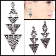 HOH 1960 ♠️ Pave Tribal Earrings NWT DESCRIPTION A cascade of antique silver-tone triangles, each with crystal-encrusted designs, hangs from pyramid studs on these House of Harlow 1960 earrings. Post closure.  Imported, China.  Measurements Length: 0.5in / 1cm House of Harlow 1960 Jewelry Earrings