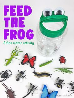 A fun and inviting fine motor activity to promote bilateral coordination and hand-eye coordination! Designed for toddlers and preschoolers. toddlers and preschoolers Feed the Frog Toddler Fine Motor Activities, Frog Activities, Motor Skills Activities, Preschool Learning Activities, Infant Activities, Preschool Bug Theme, Frogs Preschool, Fine Motor Skills, Toddler Classroom