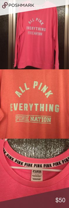 NEW VS PINK sweat shirt VS PINK over sized sweatshirt. Brand new, never washed or worn, bought online. Price firm. Will sell or trade for other size large PINK stuff. Do not ask to trade if you don't have excellent trade history or anything posted for trade. Smoke free home, excellent feedback, trusted Posher since 2013. PINK Victoria's Secret Tops Sweatshirts & Hoodies