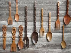 retro kitchen wall art, big carved wooden forks & spoons, 60s 70s vintage tiki wood