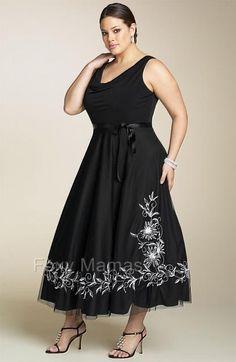 d7c1f1b05675 FOXYMAMA Plus Sze Black Embroidered 3 4L Cocktail Dress Sizes 16~34