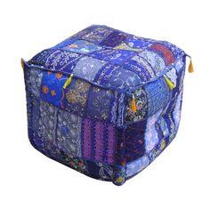 Cube-shaped patchwork pouf.   Product: PoufConstruction Material: CottonColor: BlueFeature...