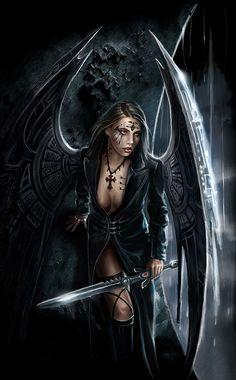 Art of Anne Stokes Fantasy Art Women, Dark Fantasy Art, Fantasy Girl, Gothic Angel, Gothic Fairy, Black Hair Inspiration, Warrior Angel, Dark Warrior, Ange Demon