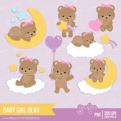 BABY GIRL BEAR Digital Clipart Baby Bear Clipart Bear by grafos, $5.00