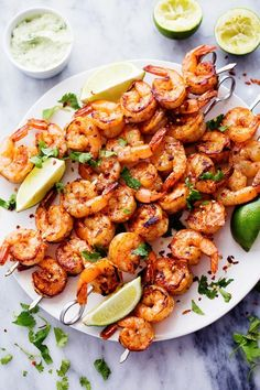 Grilled spicy lime shrimp with avocado cilantro sauce …