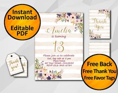 13th Birthday Invitation Instant Download 1st 18th 21st 30th