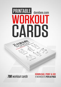FREE PRINTABLE Workout Cards by DAREBEE - This is a fun way to stay motivated throughout the year! Select a new card each day and get in a nice, quick workout! workout cards in total! Easy Workouts, At Home Workouts, Hero Workouts, Hiit, Cardio, Card Workout, Workout Ideas, Free Workout, Workout Plans