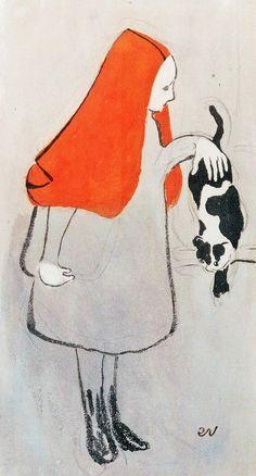 nabis  edouard vuillard (cuiseaux I868 † la baule escoublac I940) peintre, dessinateur, graveur et illustrateur francaise / french art la palette grise grey palett sujet petite fille avec chat little girl with cat