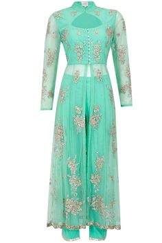 Turquoise blue sequins embroidered anarkali kurta set available only at Pernia's Pop-Up Shop.