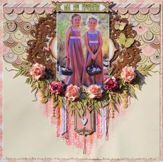 Oh So Pretty ~ Beautifully feminine girl's page with a layered paper, chipboard and flower frame.
