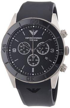 Montre Armani Sport AR9500 Homme - Quartz - Chronographe - Cadran Acier  Noir - Bracelet Caoutchouc b6cd14a610e