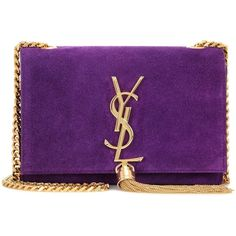 YSL Yves Saint Laurent Purple Suede Small Monogram Tassel Bag (£1,825) ❤ liked on Polyvore featuring bags, handbags, shoulder bags, purple, purple shoulder bag, shoulder bag purse, chain shoulder bag, yves saint laurent purses and monogrammed handbags