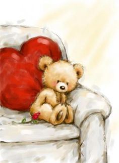 Cute bear on sofa with heart cushion,thinking someone he loves. Cards are shipped the Next Business Day.