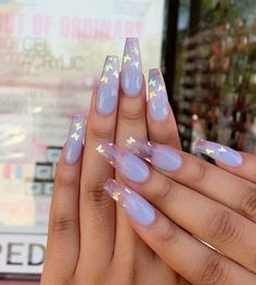 Lavender nails with holographic gradient - - nageldesing - NAILS - Nageldesign Perfect Nails, Gorgeous Nails, Pretty Nails, Best Acrylic Nails, Summer Acrylic Nails, Holographic Nails Acrylic, Ballerina Acrylic Nails, Acrylic Nail Art, Spring Nails