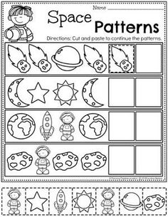 Looking for fun space theme preschool Activities for kids? Check out these 16 Hands-On space Learning Activities and Crafts for Preschool or Kindergarten. Preschool Worksheets Patterns - Continue the Patterns Worksheets for Preschool Space Theme Space Theme Preschool, Space Activities For Kids, Space Crafts For Kids, Preschool Learning Activities, Free Preschool, Preschool Printables, Preschool Lessons, Preschool Classroom, Preschool Worksheets