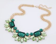 >> Click to Buy << Fashion Green Crystal Flower Floral Choker Collar  Necklace Gold Tone Thick Chain For Women Jewelry #Affiliate