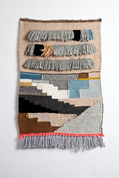 Helens. Loosely inspired by the palettes of Helen Frankenthaler. Materials: Catskills Sheep Farm's merino hand dyed wools, wools, metallics, raffia.