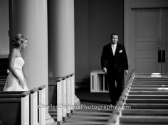 Bride & groom's first look on wedding day