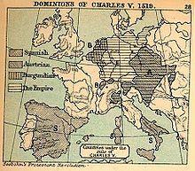 Imperio español - Carlos I heredó la Corona de Castilla y la expansión en América ; la Corona de Aragón y su expansión en el Mediterráneo; las tierras de los Habsburgo en Austria y ser emperador del Sacro Imperio Romano Germánico. Además de los Países Bajos y el Franco Condado,conquistó personalmente Túnez y en pugna con Francia la región de Lombardía.