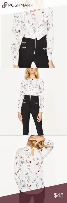 Zara printed blouse with frill Pretty print with hearts and diamonds! Soft flowy material.. smaller fit.. better for medium size Zara Tops Blouses
