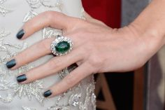 Naomi Watts pairs her gorgeous emerald ring with Chanel Le Vernis Nail Colour in Black Pearl at the Screen Actors Guild Awards. via StyleList