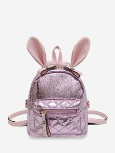 [35% OFF] 2019 Shiny Rabbit Ear Front Pocket Mini Backpack In PIG PINK | DressLily Chic Backpack, Studded Backpack, Mini Backpack, Black Backpack, Backpack Bags, Yellow Shoulder Bags, Leopard Bag, Backpack Reviews, Buy Bags