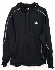 Adidas Mens Black Long Sleeve Full Zipper Hoodie Hooded Sweatshirt Jacket XL…