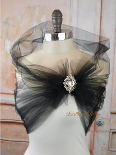 Chal de noche de tul negro con diamantes de imitación de