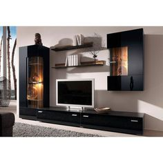 Wohnwand, (Set, Neckermann, schwarz unit furniture TV Cabinets - New Ideas 3 Piece Living Room Set, Living Room Sets, Home Living Room, Tv Wall Cabinets, Living Room Cabinets, Black Cabinets, Tv Cabinet Design, Tv Wall Design, Armoires Murales Tv
