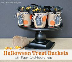 Halloween Treat Buckets with Paper Chalkboard Tags