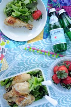 Summer Picnic for Two: Lemon + Thyme roasted chicken drumsticks with simple salad.