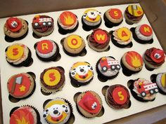 Firefighter Cupcakes | Shared by LION Firefighter Cupcakes, Fireman Cupcakes, Fireman Cake, Dog Cupcakes, Fireman Party, Cupcake Cakes, Fire Engine Cake, Fire Fighter Cake, Best Food Trucks
