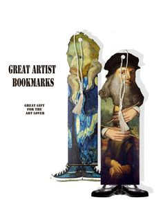 printable designer bookmarks including Da Vinci, Van Gogh, DIY bookmarks college sheet
