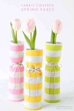 76 Crafts To Make and Sell - Easy DIY Ideas for Cheap Things To Sell on Etsy, Online and for Craft Fairs. Make Money with These Homemade Crafts for Teens, Kids, Christmas, Summer, Mother's Day Gifts. |  Fabric Covered Spring Vases  |  diyjoy.com/crafts-to-make-and-sell
