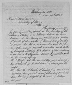 Image 1 of 4, Series 1. General Correspondence. 1833-1916. John Evans to Edwin M. Stanton, Monday, December 14, 1863 (Indian affairs in Colorado)