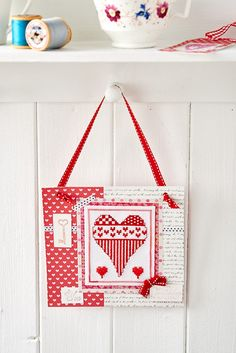 Make a cross-stitch heart hanger with the February 2015 edition of Crafts Beautiful