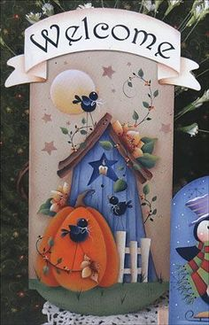 View more images from Mini Seasons Vol 6 Pintura Country, Arte Country, Wood Craft Patterns, Tole Painting Patterns, Autumn Painting, Painting On Wood, Fall Halloween, Halloween Crafts, Decoupage