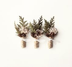 Wedding boutonniere groomsmen button hole Woodland by whichgoose, $12.00