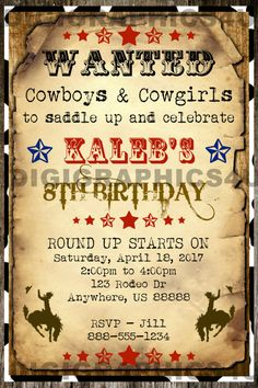 Country and Western Cowboy Wanted Poster Birthday Party