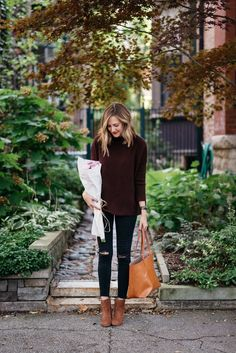 burgundy turtleneck outfit