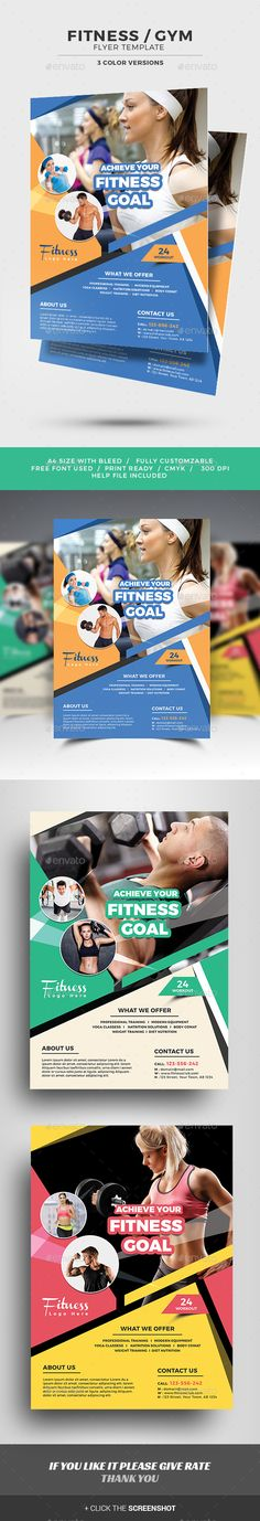 Fitness Flyer by jpixel55 FITNESS / GYM Flyer Template. Modern and elegant design for flyer. Perfect for gyms and sport clubs promotion. All elements are ed