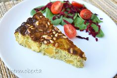 Caramelised Onion, Pumpkin and Haloumi Frittata. This is a decadent frittata that you're sure to make again and again! Be sure you let it rest after cooking, to give it time to settle, as it is quite delicate. Veggie Recipes, Low Carb Recipes, Snack Recipes, Cooking Recipes, Quiche Dish, Frittata, Caramalized Onions, Savoury Baking, Savoury Pies